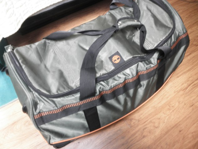 My big duffel bag, filled with all of my clothes and shoes