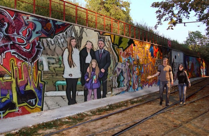 A mural of Transnistrian president Vadim Krasnoselsky and his family.